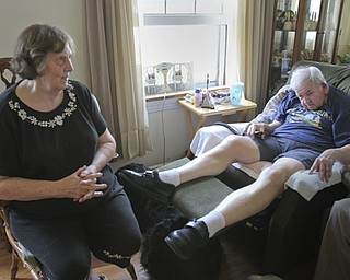 William d Lewis The Vindicator  Jerry Riley who is housebound and his wife Linda Riley in the livingroom of their Idora neighborhood home.  They are having a fundraiser to help woth cost of building a wheelchair ramp.