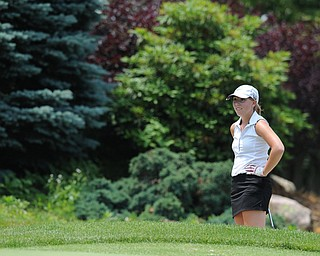 SALEM, OHIO - JUNE 23, 2014: Nicolette Eddy of Kennedy reacts after unsuccessfully attempting to chip her ball out of the bunker for the 2nd time on the 12th hole on Monday afternoon at the Salem Golf Club during the Vindy Greatest Golfer tournament. (Photo by David Dermer/Youngstown Vindicator)