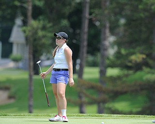 SALEM, OHIO - JUNE 23, 2014: Kerra Loomis of Canfield reacts after missing a putt on the 12th hole on Monday afternoon at the Salem Golf Club during the Vindy Greatest Golfer tournament. (Photo by David Dermer/Youngstown Vindicator)