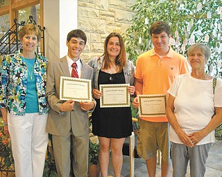 The Garden Forum of Greater Youngstown presented three $1,000 scholarships during the flower show on June 15 at the Davis Center in Fellows Riverside Gardens, Mill Creek MetroParks. Recipients are Autumn Dixon, Joseph Fagnano and Taylor Holzer. Dixon is studying horticultural science at Kent State Salem. Fagnano will major in biology and agricultural sciences at Youngstown State University in the fall. Holzer will attend Kent State Salem in the fall and major in horticulture. From left to right are JoAnn Vlacancich, third vice president and scholarship chairwoman; Fagnano; Dixon; Holzer; and Mary Schall, president of the club. SPECIAL TO THE VINDICATOR
