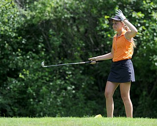 CANFIELD, OHIO - JUNE 30, 2014: Taylor Vassis of Vienna reacts after hitting her tee show into the woods and watching it bounce back into the fairway on the 8th hole Monday morning at Diamondback Golf Course during the Vindy Greatest Golfer of the Valley tournament. (Photo by David Dermer/Youngstown Vindicator)