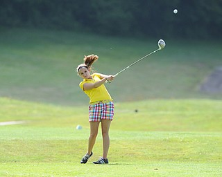 CANFIELD, OHIO - JUNE 30, 2014: Ally Moreschi of Columbiana tees off on the 7th hole Monday morning at Diamondback Golf Course during the Vindy Greatest Golfer of the Valley tournament. (Photo by David Dermer/Youngstown Vindicator)