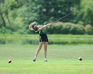 CANFIELD, OHIO - JUNE 30, 2014: Britney Jonda of Boardman tees off on the 7th hole Monday morning at Diamondback Golf Course during the Vindy Greatest Golfer of the Valley tournament. (Photo by David Dermer/Youngstown Vindicator)