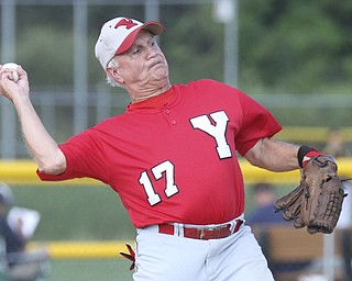 William D. Lewis The Vindicator .Senior Baseball player Ron DiVincenzo of Boardman 74, plays for Youngstown Classic in an over 58 baseball league at Field of Dreams in Boardman.