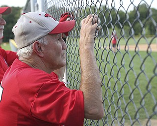 William D. Lewis The Vindicator .Senior Baseball player Ron DiVincenzo, 74, of Boardman plays for Youngstown Classic in an over 58 baseball league at Field of Dreams in Boardman.