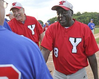 William D. Lewis The Vindicator .Senior Baseball player Charlie Harris, 74, of Youngstown plays for Youngstown Classic in an over 58 baseball league at Field of Dreams in Boardman.