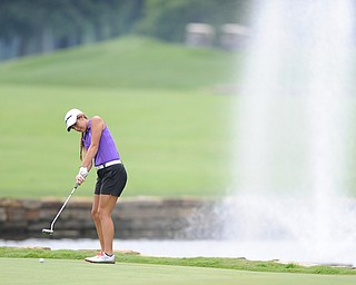 WARREN, OHIO - JULY 27, 2014: Nicole Gula follows through on her putt on the 9th hole Sunday afternoon at Avalon Lakes Country Club during the Vindy Greatest Golfer Tournament. (Photo by David Dermer/Youngstown Vindicator)