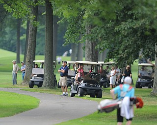 WARREN, OHIO - JULY 27, 2014: Fans watch the action from the cart path Sunday afternoon at Avalon Lakes Country Club during the Vindy Greatest Golfer Tournament. (Photo by David Dermer/Youngstown Vindicator)