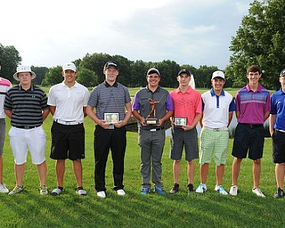 WARREN, OHIO - JULY 27, 2014: (LtoR) Ken Keller, Joey Shushok, Avery Andric, Nolan Snyder, Donavan Ray, Bradley Miller, Billy Colbert, Jacob Wilson and Zach Jacobson the 2014 participants in the U17 Vindy Greatest Golfer.