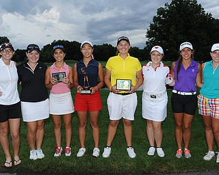 WARREN, OHIO - JULY 27, 2014: Emily Koehler, Kerra Loomis, Christina Cooper, Jacinta Pikunas, Kaylee Neumeister, Kaci Carpenter, Nicole Gula and Nicolette Eddy the 2014 participants in the U17 Vindy Greatest Golfer.