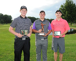 Nolan Snyder, Donavan Ray and Bradley Miller pose with their trophies  after winning the boys 17-and-under division at Avalon Lakes Golf and Country Club, wrapping up the 2014 Greatest Golfer of the Valley Junior Tournament.
