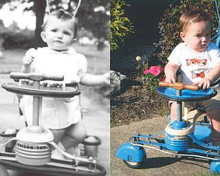 Cheryl Orlando Mangan enjoyed her Taylor Tot stroller in June of 1947. Now, 67 years later, the stroller is still in the family, and her grandson, Aiden Michael Mangan, took a ride while visiting his grandparents, Dennis and Cheryl in Howland. Aiden is the son of Jonathan and Lindsey Mangan of Richmond, Va.