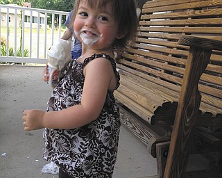 Kalotina Holtzman, 1 and 1/2, daughter of Allen and Mindy Holtzman of Poland, cooling off! Sent by mommy!