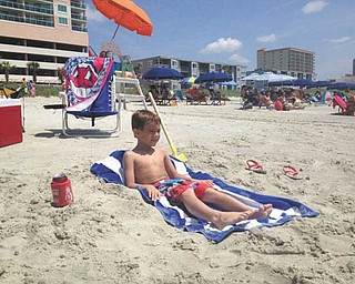 Dominic Theodore, 6, of Boardman,  is chillin' at North Myrtle Beach. He is the son of Brad and Amy Theodore. Submitted by Papa John.