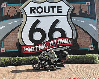 Chuck Cavanaugh rode his Harley while Touring Route 66 in Pontiac, Ill. The picture was taken by Harley-Davidson.