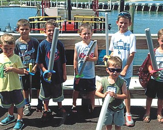 Seven grandsons at a family reunion preparing for the pirate ship ride on the Ocean.....ARGGGG! From left are Kyle Saul, 4, of North Royalton, Ohio; Tyler Saul, 6, of Beverly Hills, Calif.; Cameron Saul, 6, of North Royalton; Jake Burns, 7, of Avon, Ohio; Connor Saul, 9, of Beverly Hills; and Owen Burns, 5, of Avon. In front is Colin Burns, 3, of Avon. Sent by grandma Cathy.