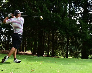 YOUNGSTOWN, OHIO - AUGUST 23, 2014: Matt Gurska tees off on a hole on the back 9 of the Youngstown Country Club during the Vindy Greatest Golfer Tournament. (Photo by David Dermer/Youngstown Vindicator)