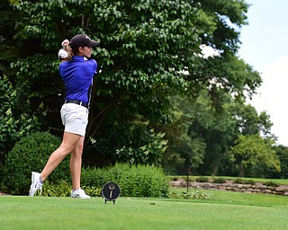 YOUNGSTOWN, OHIO - AUGUST 23, 2014: Katie Rogner tess off on a hole on the front 9 of the Youngstown Country Club during the Vindy Greatest Golfer Tournament. (Photo by David Dermer/Youngstown Vindicator)