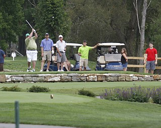 .          ROBERT  K. YOSAY | THE VINDICATOR..Golfers tee off  on the number 9 hole at Lakeside Golf Course..GGOV at The Lake Club in Poland -...-30-