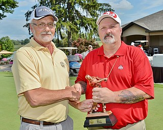 Jeff Lange | The Vindicator  15+ Handicap champ Ron Merrell with The Vindicator's Ted Suffolk..