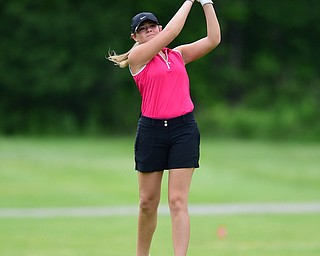 HUBBARD, OHIO - MAY 31, 2015: Sarah Brindley of Howland tees off on the 2nd hole Sunday afternoon at Pine Lakes. (Photo by David Dermer/Youngstown Vindicator)