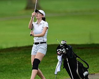 HUBBARD, OHIO - MAY 31, 2015: Emily Koehler reacts after hitting her approach shot over the green on the 1st hole Sunday afternoon at Pine Lakes. (Photo by David Dermer/Youngstown Vindicator)