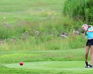 HUBBARD, OHIO - JUNE 26, 2015: Jenna Jacobson of Poland tees off on the 11th hole Friday afternoon at Pine Lakes during a Vindy Greatest Golfer qualifying Tournament. DAVID DERMER | THE VINDICATOR