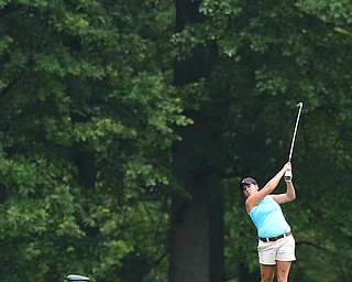 BOARDMAN, OHIO - JULY 1, 2015: Tori Augustine of Boardman tees off on the 8th hole at Mill Creek Golf Course Wednesday afternoon during a Vindy Greatest Golfer qualifying Tournament. DAVID DERMER | THE VINDICATOR