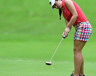 BOARDMAN, OHIO - JULY 1, 2015: Jenna Vivo of Boardman follows through on her putt on the 8th hole at Mill Creek Golf Course Wednesday afternoon during a Vindy Greatest Golfer qualifying Tournament. DAVID DERMER | THE VINDICATOR