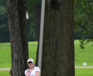 BOARDMAN, OHIO - JULY 1, 2015: Kaci Carpenter of Canfield watches as her ball drops on the green near the pin on the 8th hole at Mill Creek Golf Course Wednesday afternoon during a Vindy Greatest Golfer qualifying Tournament. DAVID DERMER | THE VINDICATOR