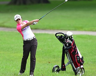 BOARDMAN, OHIO - JULY 1, 2015: Elise Hammond of Columbiana follows through on her approach shot on the 9th hole at Mill Creek Golf Course Wednesday afternoon during a Vindy Greatest Golfer qualifying Tournament. DAVID DERMER | THE VINDICATOR
