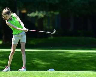 WARREN, OHIO - JULY 16, 2015: Madison Dailey of Mohawk tees off on the 3rd hole Thursday afternoon during a Vindy Greatest Golfer qualifying Tournament. DAVID DERMER | THE VINDICATOR