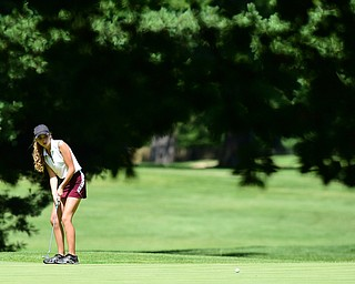 WARREN, OHIO - JULY 16, 2015: Britney Jonda of Boardman watches as her putt breaks toward the hole on the 12th hole Thursday afternoon during a Vindy Greatest Golfer qualifying Tournament. DAVID DERMER | THE VINDICATOR