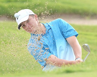 Jeff Lange   The Vindicator  JULY 26, 2015 - Brian Terlesky of Boardman watches his shot onto the green through a wall of sand during Sunday's tournament in Howland.