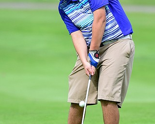 HUBBARD, OHIO - JUNE 26, 2015: Kevin Baker of McDonald chips his ball toward the green on his approach shot on the 18th hole Friday afternoon at Pine Lakes during a Vindy Greatest Golfer qualifying Tournament. DAVID DERMER | THE VINDICATOR
