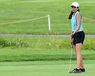 HUBBARD, OHIO - JUNE 26, 2015: Hadley Spielvogel of Boardman shows her frustration after her ball broke past the hole on the 11th hole Friday afternoon at Pine Lakes during a Vindy Greatest Golfer qualifying Tournament. DAVID DERMER | THE VINDICATOR