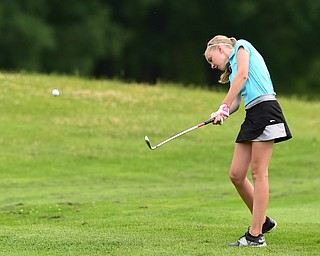 HUBBARD, OHIO - JUNE 26, 2015: Jenna Jacobson of Poland chips toward the green on the 11th hole Friday afternoon at Pine Lakes during a Vindy Greatest Golfer qualifying Tournament. DAVID DERMER | THE VINDICATOR