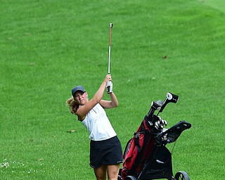 HUBBARD, OHIO - JUNE 26, 2015: Cheyenne Titus of McDonald follows through on her approach shot on the 13th hole Friday afternoon at Pine Lakes during a Vindy Greatest Golfer qualifying Tournament. DAVID DERMER | THE VINDICATOR