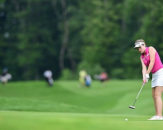 HUBBARD, OHIO - JUNE 26, 2015: Morgan McGowan of Hubbard follows through on her putt on the 13th hole Friday afternoon at Pine Lakes during a Vindy Greatest Golfer qualifying Tournament. DAVID DERMER | THE VINDICATOR