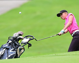 BOARDMAN, OHIO - JULY 1, 2015: Taylor Vassis of Vienna chips on to the green from the fairway on the 8th hole at Mill Creek Golf Course Wednesday afternoon during a Vindy Greatest Golfer qualifying Tournament. DAVID DERMER | THE VINDICATOR