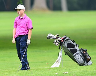 BOARDMAN, OHIO - JULY 1, 2015: Cory Haaz of Hermitage shows his frustration after a bad approach shot on the 15th hole at Mill Creek Golf Course Wednesday afternoon during a Vindy Greatest Golfer qualifying Tournament. DAVID DERMER | THE VINDICATOR