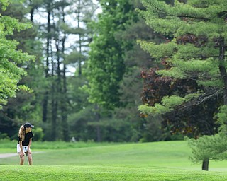 VIENNA, OHIO - MAY 17, 2015: Britney Jonda of Boardman reacts after missing at putt on the 3rd hole Sunday afternoon at Squaw Creek Country Club during the Vindy Greatest Golfer junior qualifier. (Photo by David Dermer/Youngstown Vindicator)