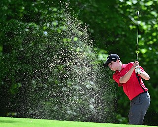 VIENNA, OHIO - MAY 17, 2015: Michael Butch chips out of the bunker and onto the green on the 13th hole Sunday afternoon at Squaw Creek Country Club during the Vindy Greatest Golfer junior qualifier. (Photo by David Dermer/Youngstown Vindicator)