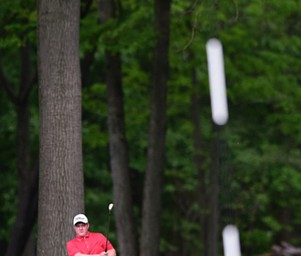 VIENNA, OHIO - MAY 17, 2015: Joey Shushok of Austintown watches as his golf ball drops into the hole for a eagle on the par 416th hole Sunday afternoon at Squaw Creek Country Club during the Vindy Greatest Golfer junior qualifier. (Photo by David Dermer/Youngstown Vindicator)