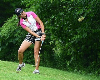 CANFIELD, OHIO - JULY 7, 2015:  Jacinto Pikunas of Boardman chips out of the short rough and toward the hole  on the 15th hole Tuesday afternoon at Diamondback during a Vindy Greatest Golfer qualifying Tournament. DAVID DERMER | THE VINDICATOR