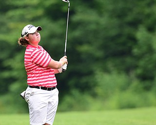 CANFIELD, OHIO - JULY 7, 2015: Kaylee Neumeister of Cortland watches her approach shot on the 15th hole Tuesday afternoon at Diamondback during a Vindy Greatest Golfer qualifying Tournament. DAVID DERMER | THE VINDICATOR