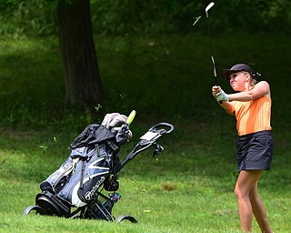 CANFIELD, OHIO - JULY 7, 2015: Taylor Vassis of Vienna chips out of the short rough on the 15th hole Tuesday afternoon at Diamondback during a Vindy Greatest Golfer qualifying Tournament. DAVID DERMER | THE VINDICATOR