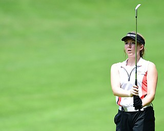 CANFIELD, OHIO - JULY 7, 2015: Sydney Heinbaugh of Youngstown watches her ball fly toward the green after her approach shot on the 15th hole Tuesday afternoon at Diamondback during a Vindy Greatest Golfer qualifying Tournament. DAVID DERMER | THE VINDICATOR