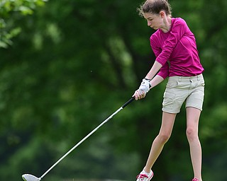 CANFIELD, OHIO - JULY 7, 2015: Madison Dailey of Mohawk tees off on the 11th hole Tuesday afternoon at Diamondback during a Vindy Greatest Golfer qualifying Tournament. DAVID DERMER | THE VINDICATOR
