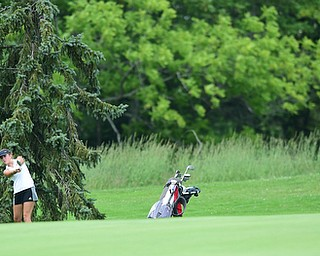 CANFIELD, OHIO - JULY 7, 2015: Kristin Shelley of Canfield chips onto the green from the short rough not he 10th hole Tuesday afternoon at Diamondback during a Vindy Greatest Golfer qualifying Tournament. DAVID DERMER | THE VINDICATOR